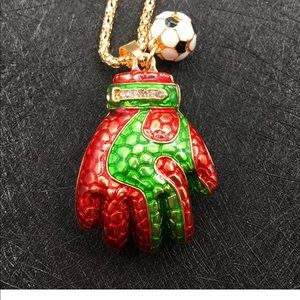 Jewelry - Red and Green Soccer Glove and Ball Necklace